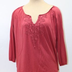 Chaps Red/Rose XL Vneck 3/4 Sleeve Cotton Blouse